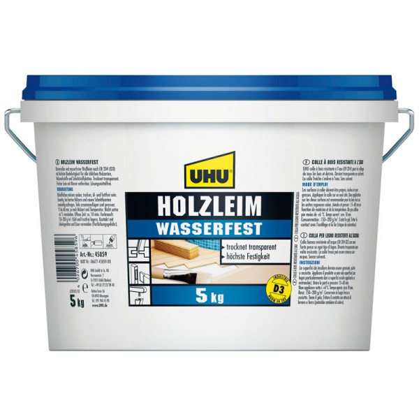 UHU HOLZLEIM WASSERFEST EN 204 (D3), ohne Lösungsmittel, Eimer 5kg