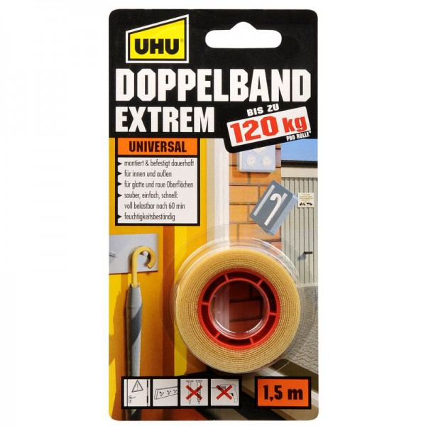 UHU DOPPELBAND, EXTREM - doppelseitiges Montageklebeband
